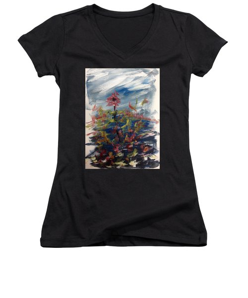 Wild Flowers On An Overcast  Day Women's V-Neck (Athletic Fit)