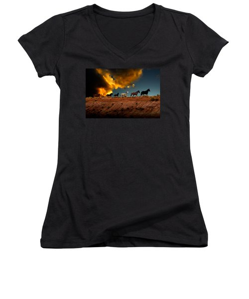 Wild Horses At Sunset Women's V-Neck T-Shirt (Junior Cut) by Harry Spitz