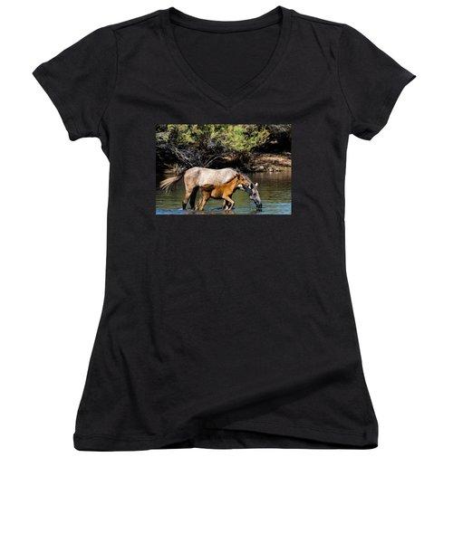 Wild Horses On The Salt River Women's V-Neck