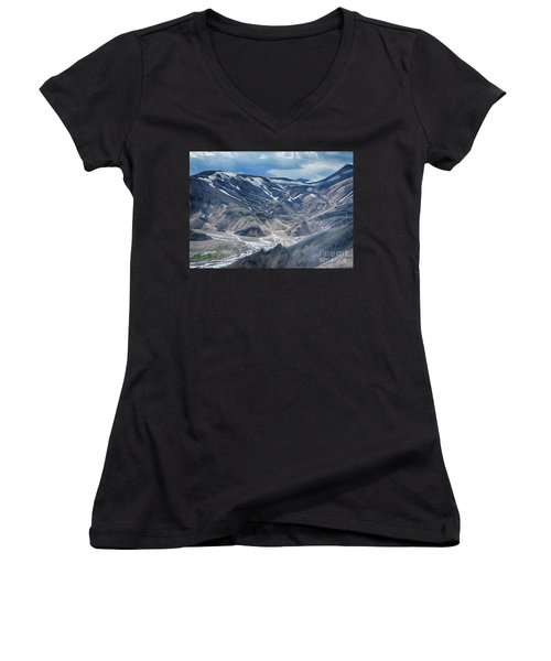 wild Iceland 3 Women's V-Neck (Athletic Fit)
