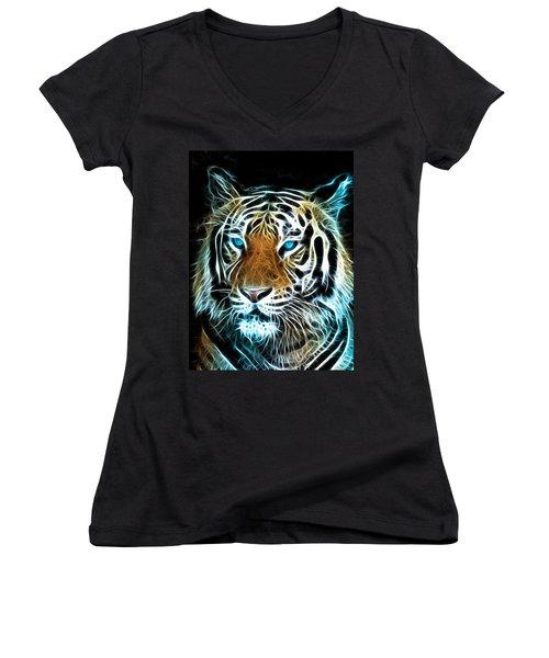 Women's V-Neck T-Shirt (Junior Cut) featuring the digital art Wild Thang by Karen Showell
