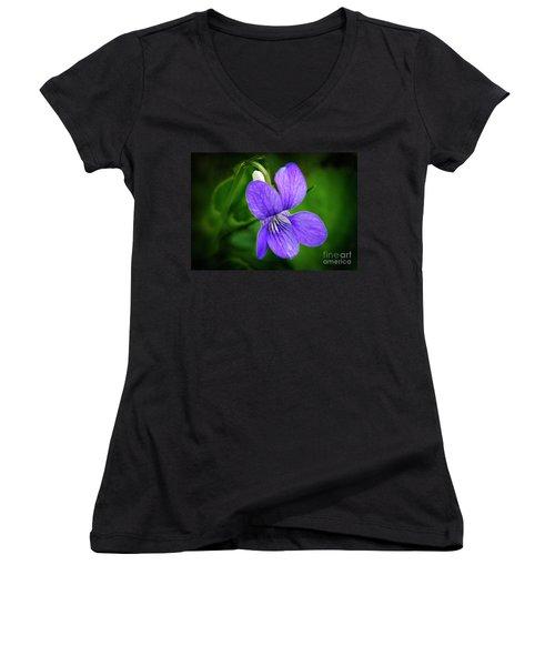 Wild Violet Flower Women's V-Neck