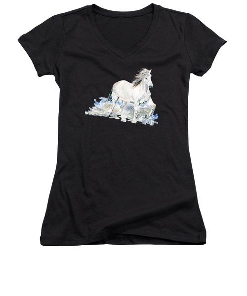 Wild White Horse  Women's V-Neck T-Shirt (Junior Cut) by Melly Terpening