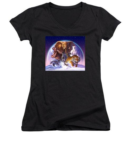 Wild World Women's V-Neck T-Shirt (Junior Cut) by Jerry LoFaro
