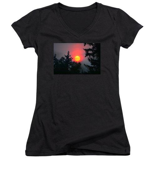 Wildfire Sunset Women's V-Neck T-Shirt