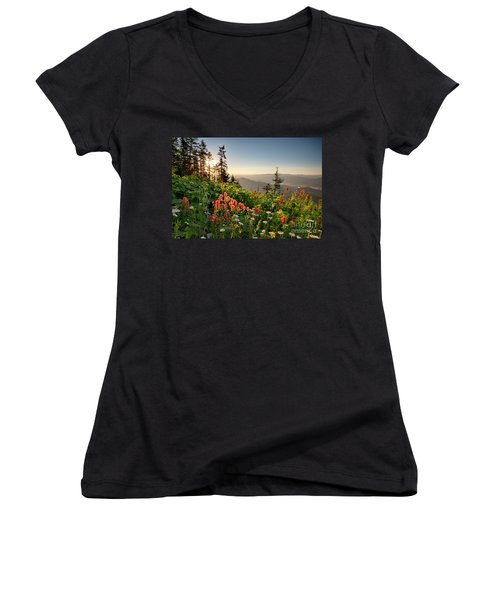 Wildflower View Women's V-Neck (Athletic Fit)