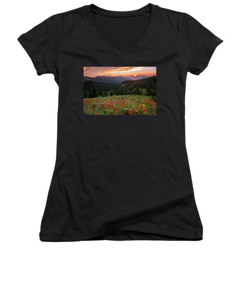 Wildflowers At Gaurdsmans Pass Women's V-Neck (Athletic Fit)