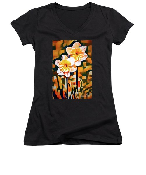 Wildly Abstract Daffodil Pair Women's V-Neck