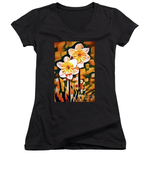 Wildly Abstract Daffodil Pair Women's V-Neck (Athletic Fit)
