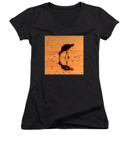 Women's V-Neck T-Shirt featuring the photograph Willet On Sunrise Surf by Steven Sparks