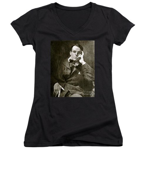 Women's V-Neck T-Shirt (Junior Cut) featuring the photograph William Butler Yeats by Pg Reproductions