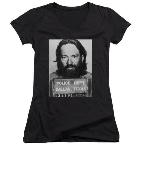 Willie Nelson Mug Shot Vertical Black And White Women's V-Neck