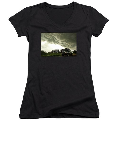Women's V-Neck T-Shirt (Junior Cut) featuring the photograph Willowbrook Beast by Ryan Crouse