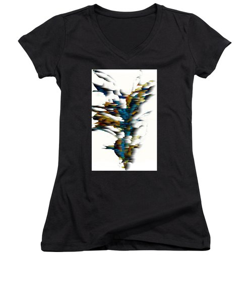 Women's V-Neck T-Shirt featuring the painting Wind Series 08.072311wscvss by Kris Haas