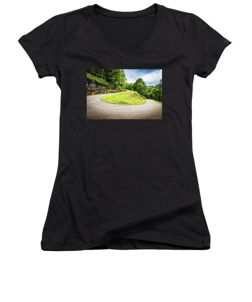 Women's V-Neck T-Shirt (Junior Cut) featuring the photograph Winding Road With Sharp Curve Going Up The Mountain by Semmick Photo