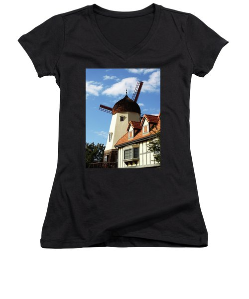 Windmill At Solvang, California Women's V-Neck