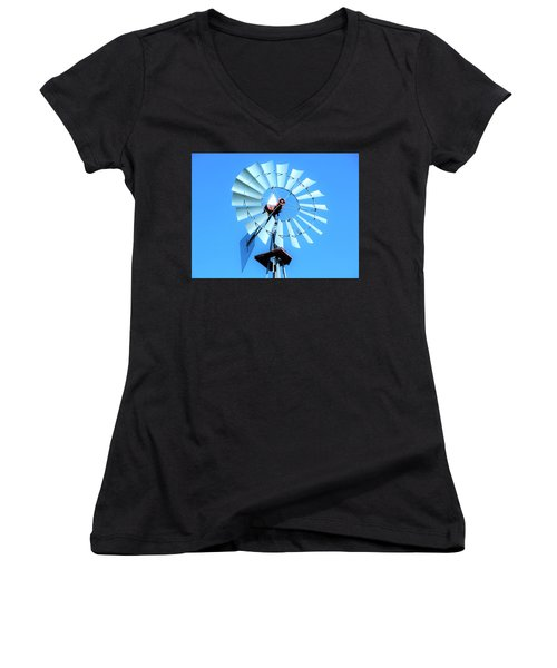 Women's V-Neck T-Shirt (Junior Cut) featuring the photograph Windmill - Bright Sunny Day by Ray Shrewsberry