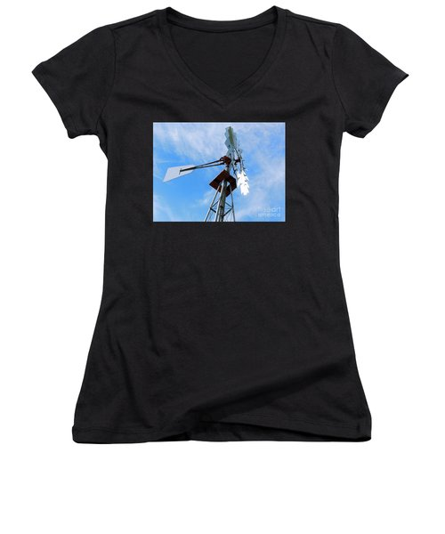 Women's V-Neck T-Shirt (Junior Cut) featuring the photograph Windmill - Mildly Cloudy Day by Ray Shrewsberry