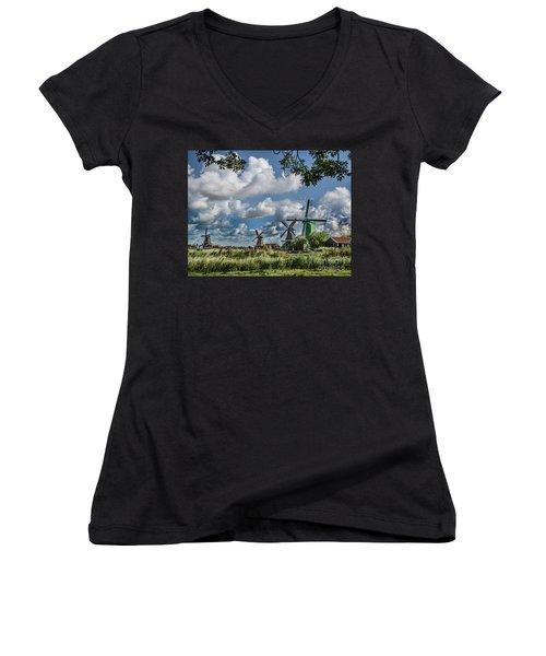Windmills Of Holland Women's V-Neck T-Shirt (Junior Cut) by Shirley Mangini