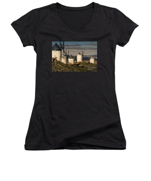 Women's V-Neck T-Shirt (Junior Cut) featuring the photograph Windmills Of La Mancha by Heiko Koehrer-Wagner