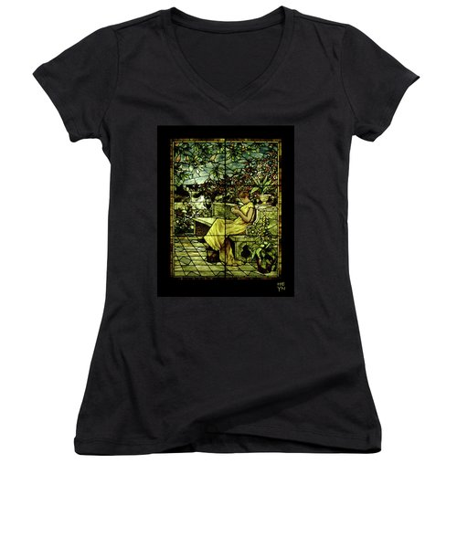 Window - Lady In Garden Women's V-Neck T-Shirt (Junior Cut) by Shirley Heyn