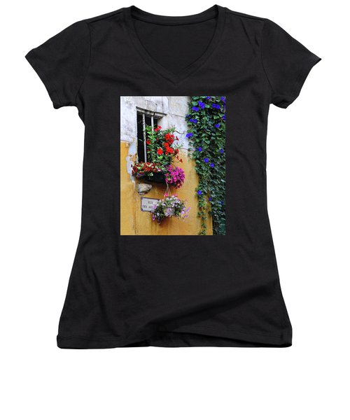 Window Garden In Arles France Women's V-Neck T-Shirt (Junior Cut) by Dave Mills
