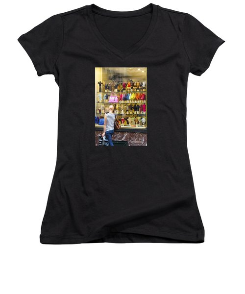 Women's V-Neck T-Shirt (Junior Cut) featuring the photograph Window Shopper by Pravine Chester