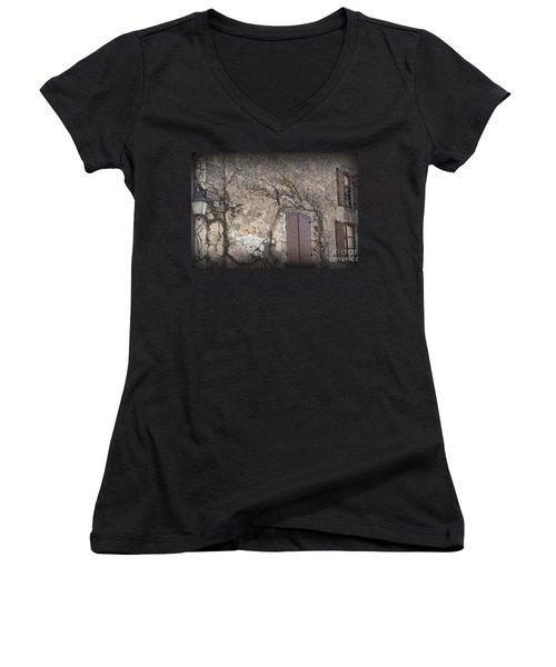 Windows Among The Vines Women's V-Neck T-Shirt (Junior Cut) by Victoria Harrington