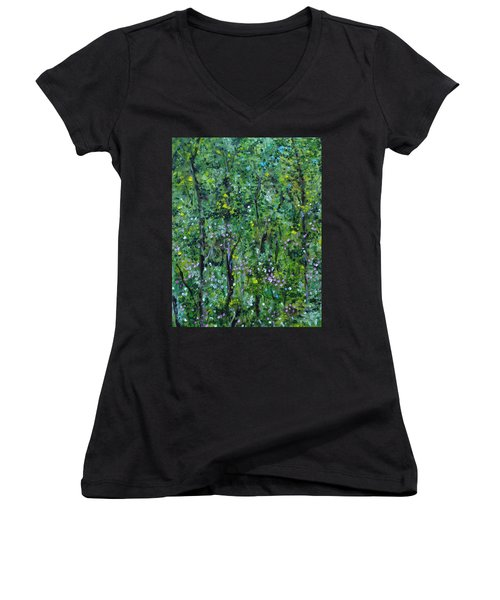 Women's V-Neck T-Shirt featuring the painting Windsor Way Woods by Judith Rhue