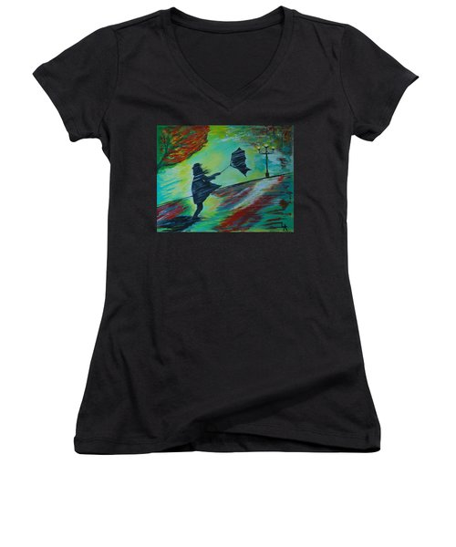 Windy Escapade Women's V-Neck T-Shirt (Junior Cut) by Leslie Allen