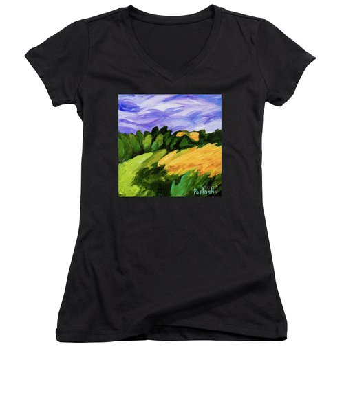 Women's V-Neck T-Shirt (Junior Cut) featuring the painting Windy by Igor Postash