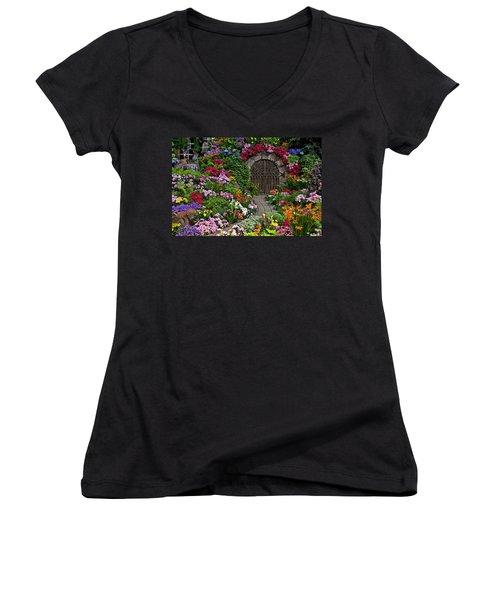 Wine Celler Gates  Women's V-Neck T-Shirt (Junior Cut) by Garry Gay