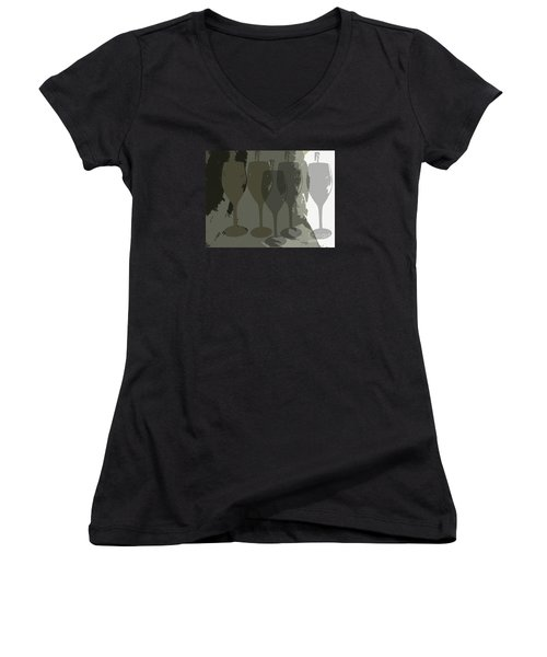 Wine Glass Abstract Women's V-Neck T-Shirt