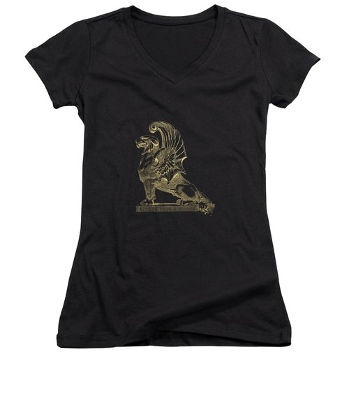 Women's V-Neck T-Shirt (Junior Cut) featuring the digital art Winged Chimera From Theater De Bellecour, Lyon, France, In Gold On Black by Serge Averbukh