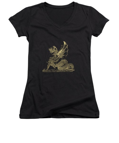 Women's V-Neck T-Shirt (Junior Cut) featuring the digital art Winged Dragon Chimera From Fontaine Saint-michel, Paris In Gold On Black by Serge Averbukh