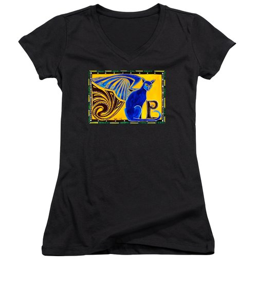 Winged Feline - Cat Art With Letter P By Dora Hathazi Mendes Women's V-Neck T-Shirt