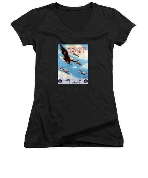 Wings Over America - Air Corps U.s. Army Women's V-Neck (Athletic Fit)
