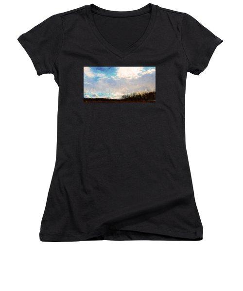 Winter Afternoon Sky Women's V-Neck T-Shirt