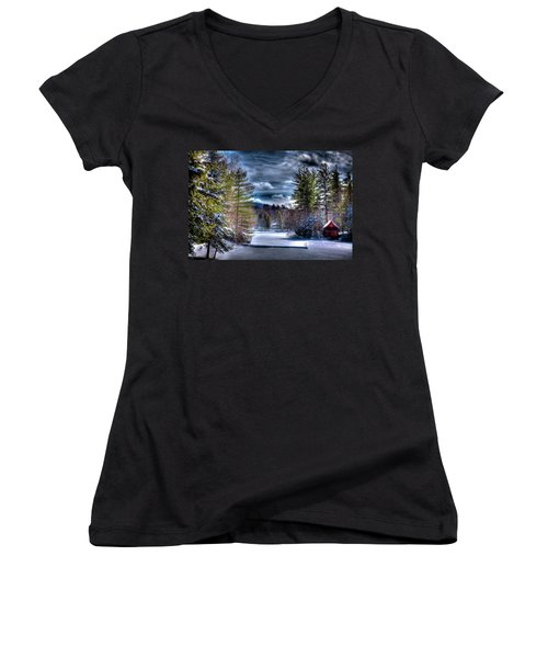 Women's V-Neck T-Shirt (Junior Cut) featuring the photograph Winter At The Boathouse by David Patterson