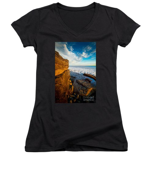 Winter Beach Sunset Women's V-Neck