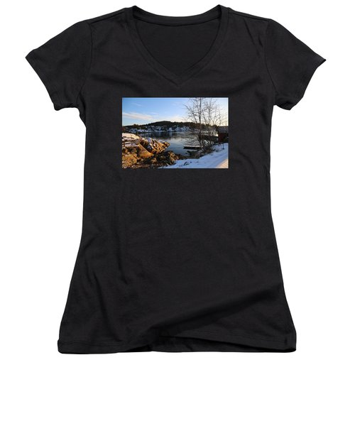 Winter Day By The Oslo Fjords, Norway.  Women's V-Neck (Athletic Fit)