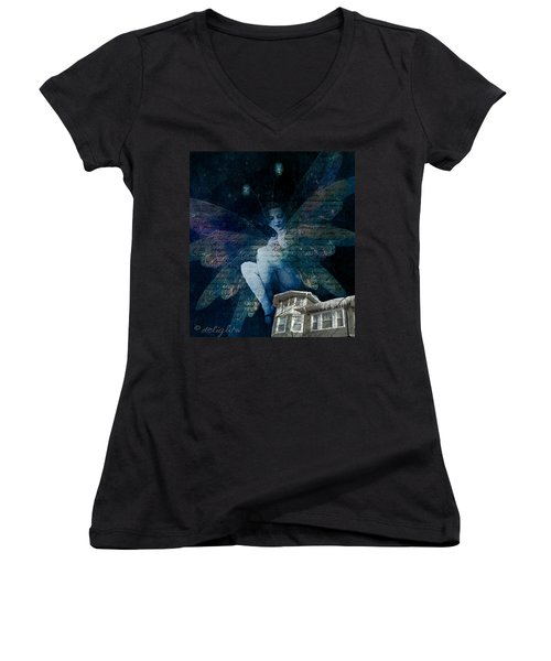 Women's V-Neck featuring the digital art Winter Fairy by Delight Worthyn
