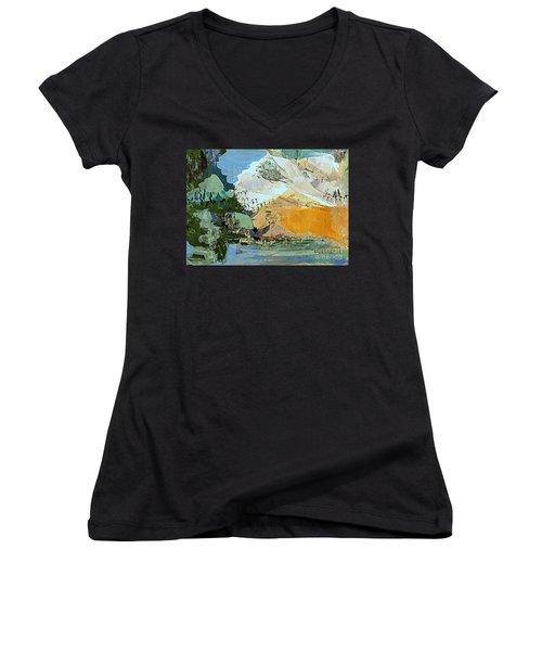 Winter Fantasy Women's V-Neck T-Shirt (Junior Cut) by Nancy Kane Chapman