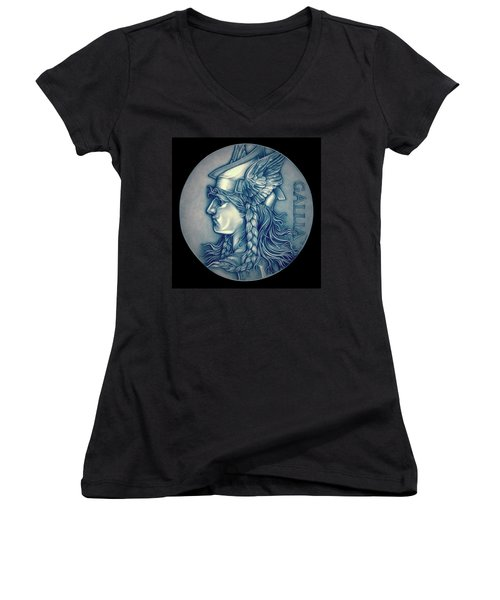 Winter Goddess Of Gaul Women's V-Neck T-Shirt (Junior Cut) by Fred Larucci