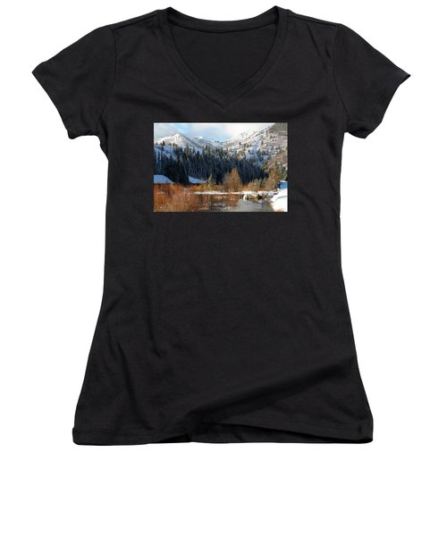 Winter I Big Cottonwood Canyon  Women's V-Neck (Athletic Fit)
