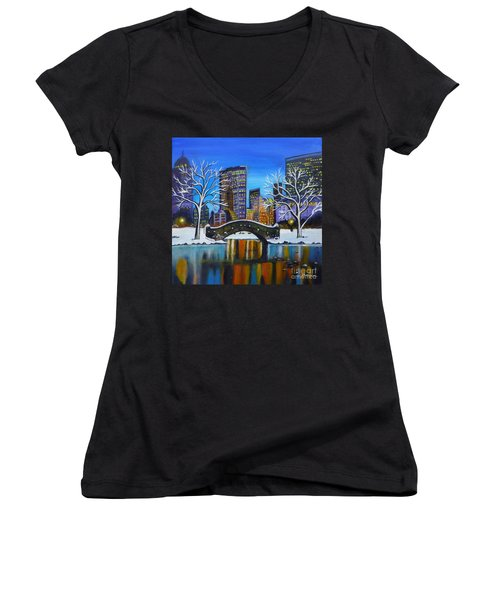 Winter In New York- Night Landscape Women's V-Neck (Athletic Fit)