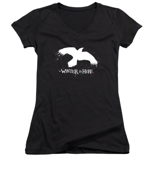 Winter Is Here - Large Raven Women's V-Neck T-Shirt