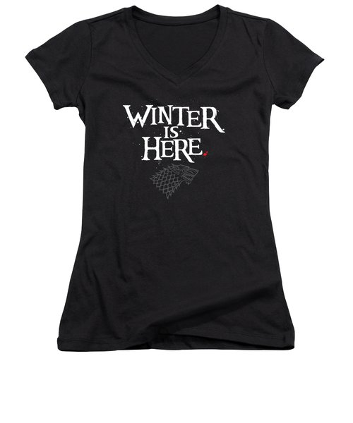 Winter Is Here - Stark Sigil Women's V-Neck T-Shirt