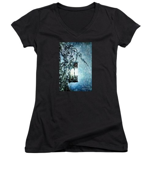 Winter Lantern Women's V-Neck T-Shirt (Junior Cut) by Stephanie Frey