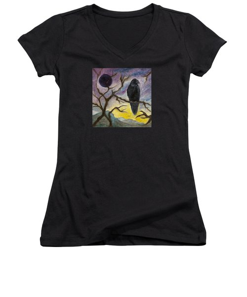 Winter Moon Raven Women's V-Neck
